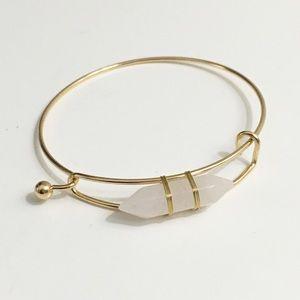 """Jewelry - Rose Quartz Gemstone Gold 8"""" Bangle Bracelet"""